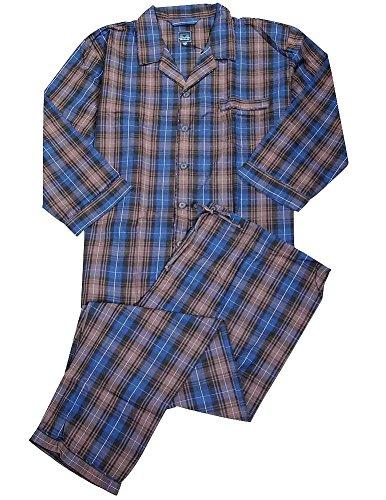 Majestic International - Mens Big Broadcloth Plaid Long Sleeve Pajamas, Java Brown, Blue 35564-XXXXX