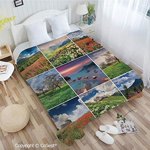 PUTIEN Luxury Flannel Blanket,Collage with Nine Different Square Framed Freshening Summer Landscapes Rural Nature,for Bed,Couch,Car(72.83