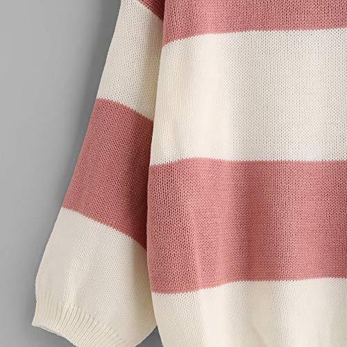 Doldoa Al Ponticello Le Maglietta Strisce Lunghe Maglione Maniche A Pullover Di Tops Liquidazione Rosa Maglia Per Caldo Vendita Donne Intorno Di Collo pS6rp