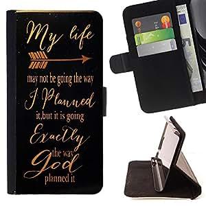 King Art - Premium-PU-Leder-Prima caja de la PU billetera de cuero con ranuras para tarjetas, efectivo Compartimiento desmontable y correa para la mu?eca FOR Samsung Galaxy S5 V SM-G900 G9009 G9008V- My Life