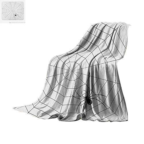 Spider Web Digital Printing Blanket Toxic Poisonous Insect Thread Crawly Malicious Bug Halloween Character Design Oversized Travel Throw Cover Blanket 60
