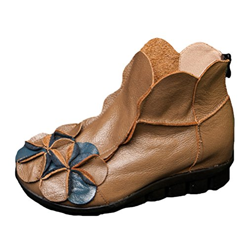 Handmade Camel With Unique Shoes Mordenmiss Flower Round Topline Womens Leather wXtBqfz