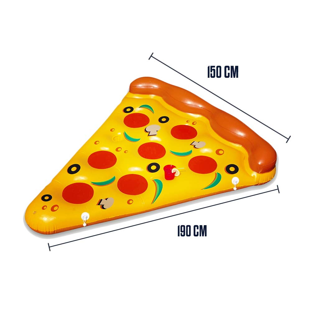 Mikamax - Pizza Inflable - 1,9m - Gigante con Forma de porción de Pizza para la Piscina - Pizza Inflatable - Gigante Hinchable Piscina Flotante ...