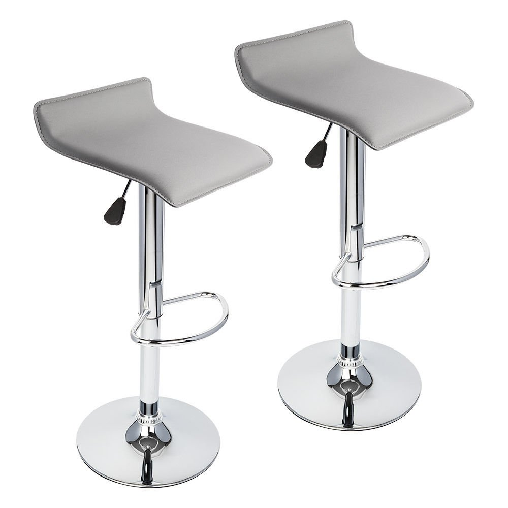 Set of (2) Modern Bar Stools Backless Curved Design Working Dining Chair Hydraulic Barstool! Grey #276