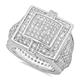 Best The Bling Factory Bling Jewelry Cz Rings - The Bling Factory Men's Rhodium Plated Micro-Pave Iced Review