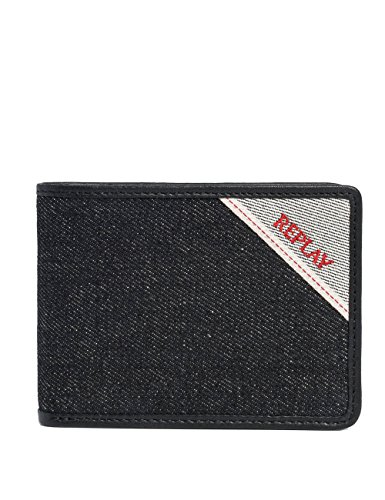 Replay Men's Men's Black Denim Wallet Black by Replay