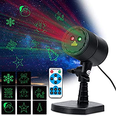 Laser Christmas Light Outdoor Waterproof LED Christmas Decoration Projector Landscape Spotlight with RF Remote 8 Green Patterns Red Star Show Waterproof for Outdoor Xmas Holiday Party