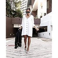 HOUSIMIN Popular Women Long Sleeve Evening Party Cocktail Club Short Mini Dress Sundress (White, M)
