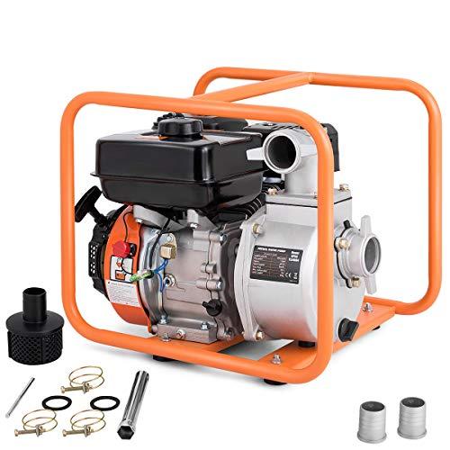 Goplus Gas-Powered Water Transfer Pump 7 HP 4-Stroke Flood Irrigation 158-Gallon-Per-Minute 208cc Engine Portable Water Pump (2-Inch) (Water Pump 2inch)