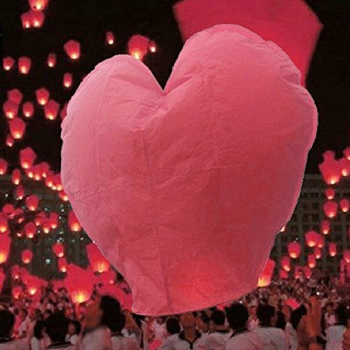 10Pcs Heart Shape Sky Lanterns Multi Coloured for Christmas, New Year, Chinese New Year, New Years Eve, Weddings & Parties, Valentines Day - Flying Sky Lanterns (Red)