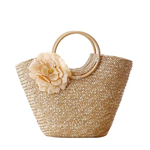 Toto Para Mujeres Bolsos Primary Hand Las Straw woven Handle Mallty Ring Large Beach Natural Chic Yellow Color color De Bag Casual Rose Flores xACqaU8