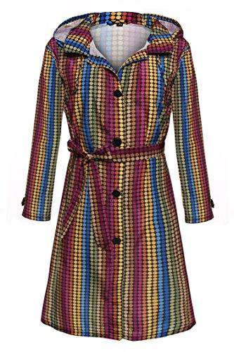 [ACEVOG Women Packable Front Button Raincoat Hooded Rain Jacket Wind Rain Coat (XXL, Colorful)] (Button Front Hooded Coat)