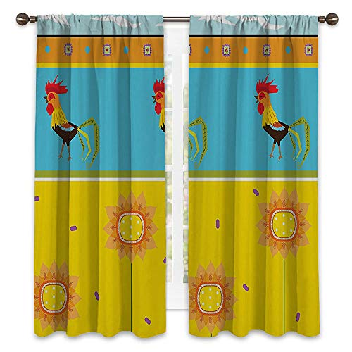 SATVSHOP Window Curtain babric - 63W x 63L -Drapes for Living Room.Gallos ooster Pattern with Sunflowers Seasonal Summer Time Greenery Sky Floating Clouds Clipart.]()