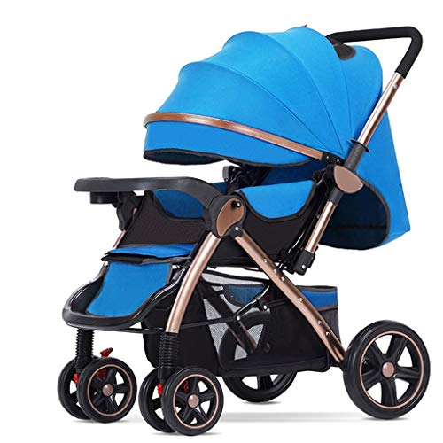 JIAX Baby Stroller, Adjustable High View Pram, Umbrella Stroller Travel System with Baby Basket and Anti-Shock Springs, 5-Point Harness and High Capacity Basket (Color : Blue)