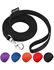 """AMAGOOD 6 FT Puppy/Dog Leash, Strong and Durable Traditional Style Leash with Easy to Use Collar Hook,3/8"""" 5/8"""" 3/4"""" 1"""" Dog Lead Great for Small and Medium and Large Dog(Black,3/8"""" x 6 Feet)"""