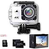 SHISHUO 4K WiFi Action Camera - Waterproof Sports Cam 12MP 170 Degree Wide Angle and Accessories Kits(16 GB Micro SD Card included) White.