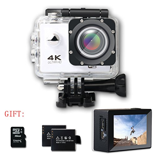 SHISHUO Action Camera F60 4K WiFi Waterproof Sports Cam 12MP 170 Degree Wide Angle and Accessories Kits(16 GB Micro SD Card included) White. SHISHUO