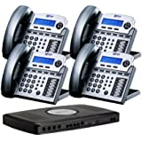 X16 Small Office Phone System with 4 Titanium Metallic X16 Telephones - Auto Attendant, Voicemail, Caller ID, Paging & Intercom