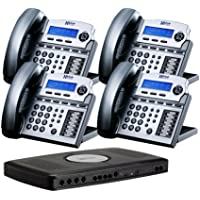 X16 6-Line Small Office Phone System with 4 Titanium Metallic  X16 Telephones - Auto Attendant, Voicemail, Caller ID, Paging & Intercom