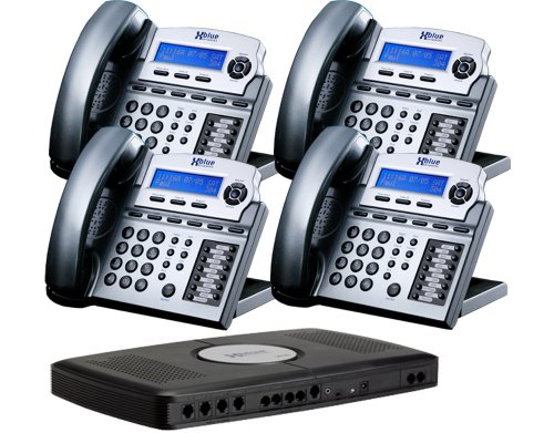 X16 Small Office Phone System with 4 Titanium Metallic X16 Telephones - Auto Attendant, Voicemail, Caller ID, Paging & Intercom by Xblue
