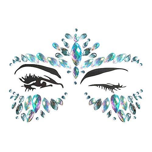 Inverlee 1 Sheet Facial Gems Adhesive Glitter Jewel Tattoos Stickers Wedding Festival Party Body Makeup (B4) ()