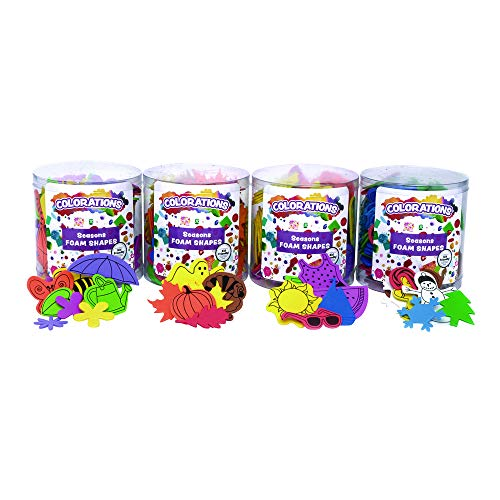 Colorations Seasons Foam Shapes Multipack Set of 4 Buckets Multicolor Foam for Kids Arts and Crafts Material