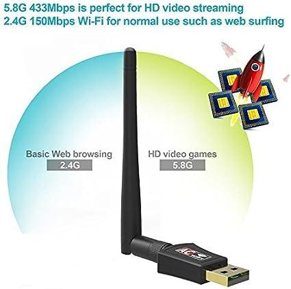 SeeKool Receptor WiFi AC600 Dual Band 5.8 GHz 600Mbps o 2,4 GHz 150 Mbps WLAN Adaptador USB Inalámbrico con Antena Desmontable WiFi Dongel para ...