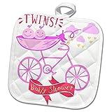 3dRose RinaPiro - Kids - Twins. Girls. Baby shower. Announcement. Cute picture. - 8x8 Potholder (phl_261340_1)