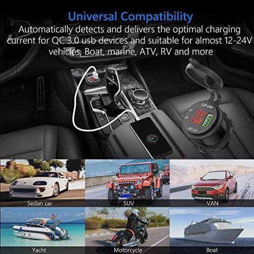 Gaoominy 12V / 24V 急速充電3.0自動車のシガレットライターソケットUsb充電器、LED電圧計電流計、ブラック & レッド