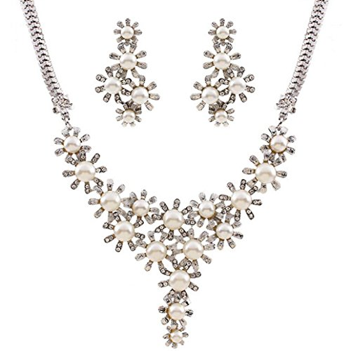 [Misaky Lady Wedding Artificia Pearl Rhinestone Short Necklace Earrings Jewelry Set Gift Set] (Party Rock Crew Costume)