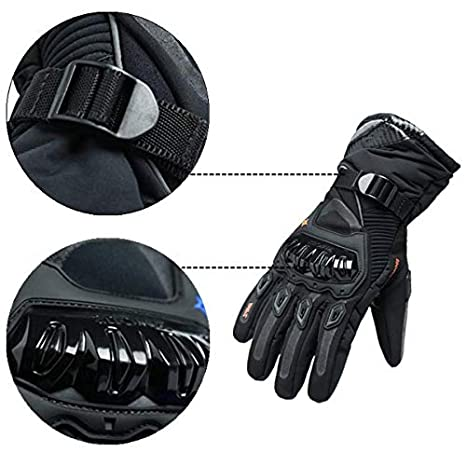 Motorcycle Gloves Motorbike Touch Screen Warm Waterproof Gloves Motor Rider Protective Gloves Red Size L