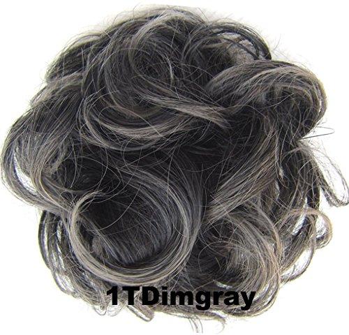 Peppers Scrunchie (netgo Scrunchy Scrunchie Hair Bun Updo Hair Ribbon Ponytail Extensions Hair Extensions Wavy Curly Messy Extensions Donut Hair Chignons Hair Piece Wig-1TDimgray Black to Dim Gray)