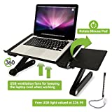 Adjustable LaptopTray with Mouse Pad Fully Adjustable-Ergonomic Mount-Ultrabook-Macbook Light Weight Aluminum-Black Bed Tray Desk Book With Two Fans | FREE USB LIGHT WITH THIS PRODUCT