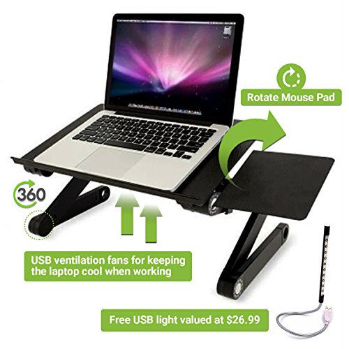 Adjustable LaptopTray with Mouse Pad Fully Adjustable-Ergonomic Mount-Ultrabook-Macbook Light Weight Aluminum-Black Bed Tray Desk Book With Two Fans | FREE USB LIGHT WITH THIS PRODUCT by Baan