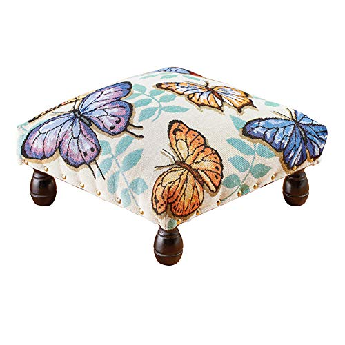 Collections Etc Colorful Bright Butterfly Tapestry Footstool with Traditional Brass Tack Studs and Wood Feet