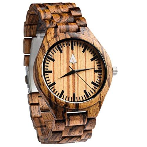 Treehut Men's Zebrawood Wooden Watch with All Zebrawood Wood Strap Quartz Ana... by treehut