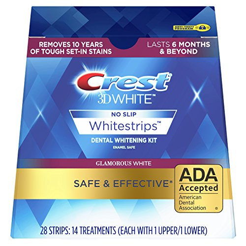 (Crest 3D White Luxe Whitestrip Teeth Whitening Kit, Glamorous White, 14 Treatments, (Packaging May Vary))
