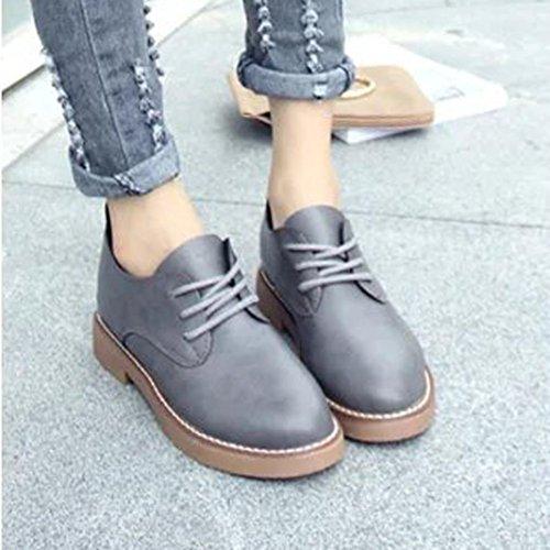 Zapatos de mujer, Ouneed ® Moda talón plano Casual de primavera las mujeres estudiante estilo encaje zapatos Gris