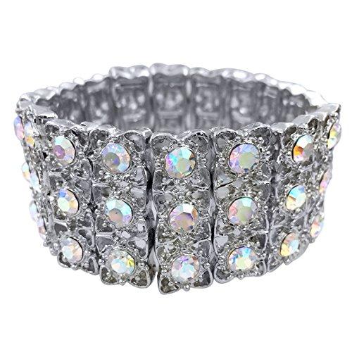 ok Rhinestone Fancy Formal Silver Tone Stretch Bracelet (AB Iridescent) ()