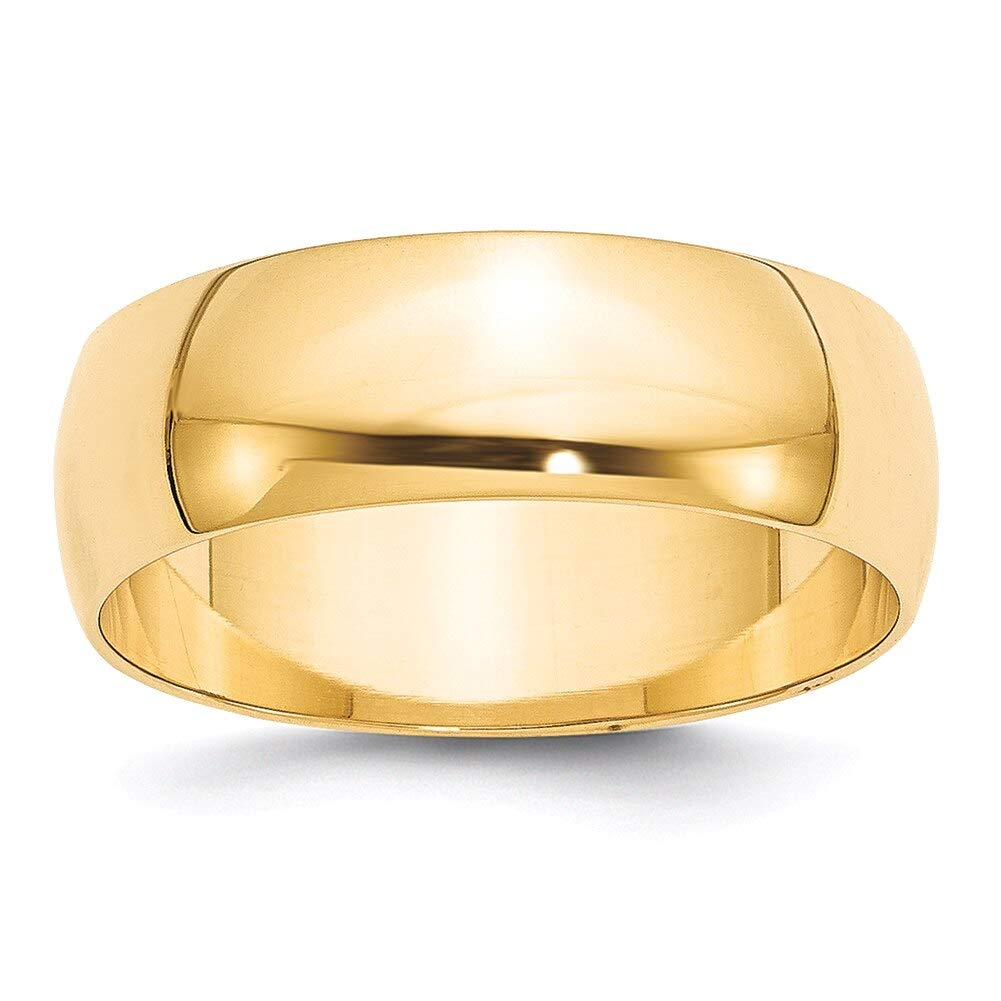 Lex /& Lu 14k Yellow Gold 7mm LTW Half Round Band Ring