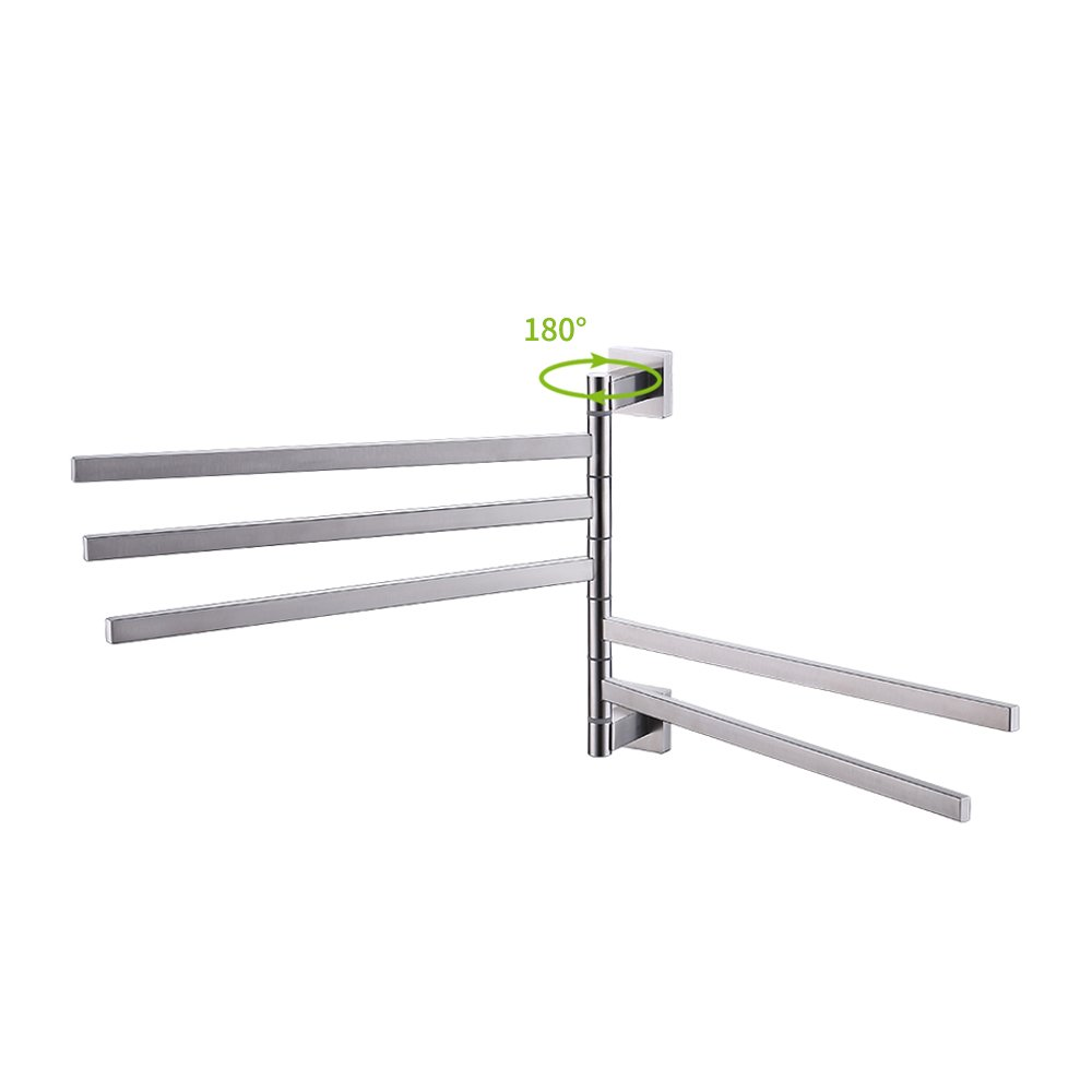 Kes Bath Towel Holder Swing Hand Towel Rack SUS 304 Stainless Steel Bathroom Swivel Towel Bar 5-Bar Folding Hanger Holder RUSTPROOF Wall Mount Brushed Finish, BTH203S5-2