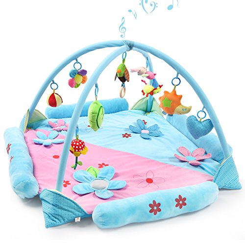 Baby Play Gym Mat for 1-2 Babies, Large Musical Activity Gym/Playmat with Removable Crossed Arches & 9 Activity Toys Works as Crawling Pad Tummy Time for 1-36 Month Baby Newborn (Blue)