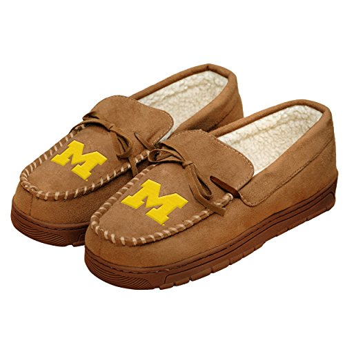 NCAA College Mens Team Logo Moccasin Slippers Shoe - Pick Team (Michigan Wolverines, ()