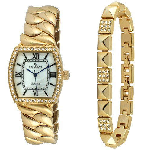 Peugeot Teardrop Jewelry 14 KT Gold Plated Barrel shape watch with Matching Bracelet