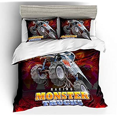 Suncloris,3D Monster Truck Home Bedding,Flying Monster Truck Against Dark Crazy Monster Truck Duvet Cover Sets.Included: Duvet Cover,Pillowcase(no Comforter Inside) (Queen): Home & Kitchen