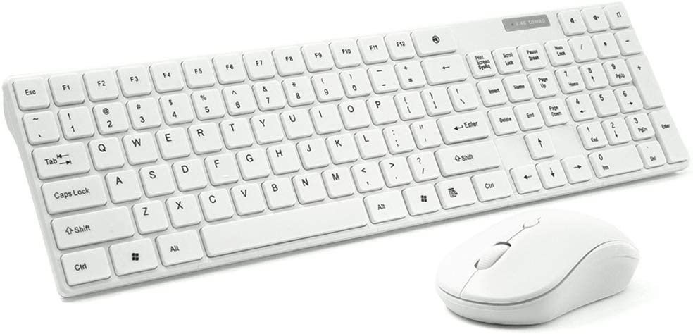 PC Laptop DDDF Wireless Keyboard and Mouse Notebook-White 2.4G Slim Compact Quiet Small Keyboard and Mouse Combo for Windows