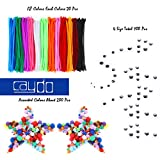 Caydo 540 Pieces Pipe Cleaners Set, Including 240 Pcs 12 Colors Chenille Stems, 100 Pcs 4 Size Wiggle Googly Eyes and 200 Pcs Pom Poms for Craft DIY Art Supplies