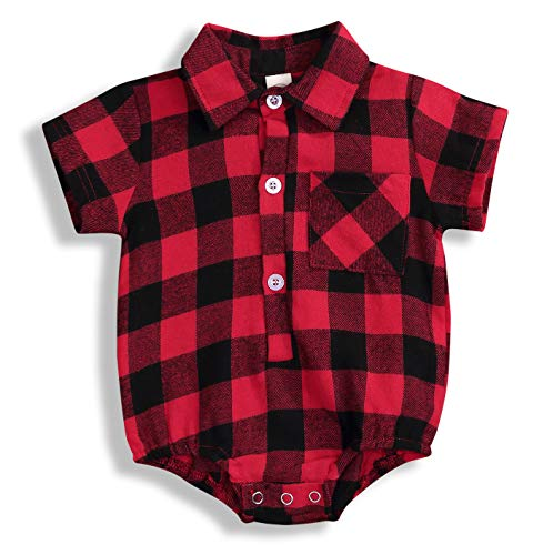 Newborn Baby Girl Boy Blouse Plaid Deer Plaid Flannel Romper Bodysuit Clothes (Red Shore, 3-6 Months)
