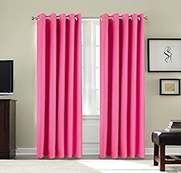 Curtains Ideas cooling curtains : Room Cooling / Warming Thermal Ring Top Blackout Curtains - Pink ...