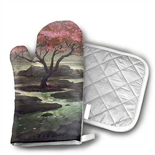 Cherry Fresh Oven Mitt - UFKEOJ Japanese Cherry Blossom Tree Oven Mitts,BBQ Microwave Baking Protective Glove and Hot Pot Heatproof Mat Set,Cotton, Machine Washable